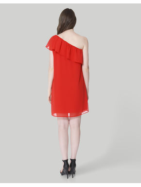 Red One Shoulder Ruffle Mini Dress