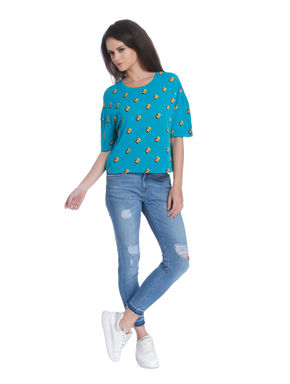 Turquoise Blue Printed T-Shirt
