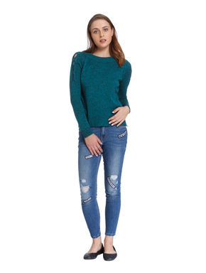 Teal Blue Criss Cross Detail Pullover