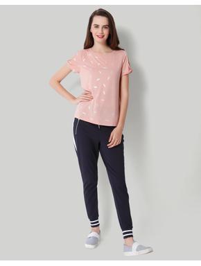 Pink Leaf Print Cold Shoulder T-Shirt