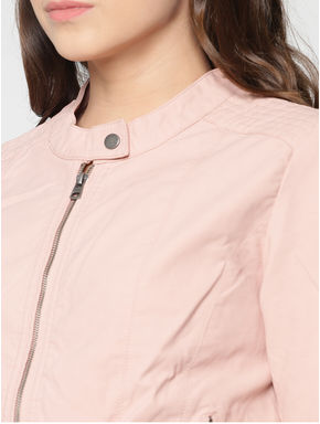 PINK Front Zip Up Biker Jacket