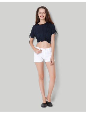 White Mid Rise Loose Fit Shorts