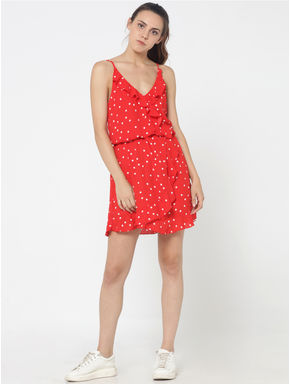 Red Polka Dot Spaghetti Strap Mini Dress