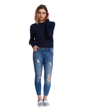 Blue Ripped Medium Rise Skinny Fit Ankle Length Jeans