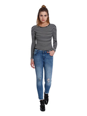 Blue Split Ankle Medium Rise Skinny Fit Jeans