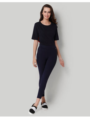 Dark Blue Button Detail Leggings