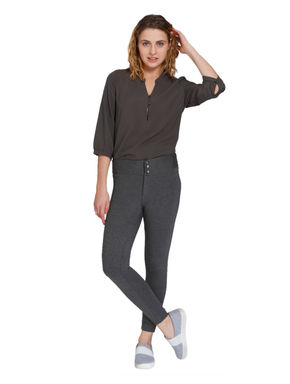 Grey Button Detail Leggings