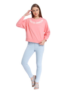 Pink Text Print Cropped Sweatshirt