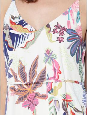 White Tropical Print Maxi Dress