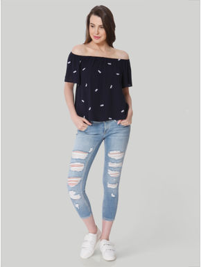 Dark Blue Pineapple Print Off Shoulder Top
