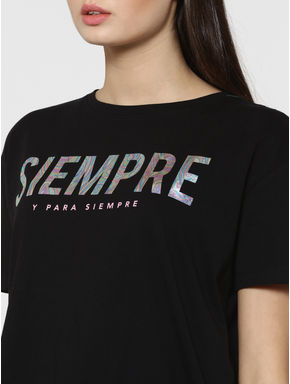 Black Holographic Text Print T-Shirt