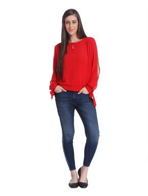 Bright Red Split Sleeves Top