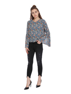 Blue Print Flared Sleeves Top