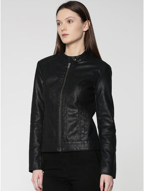 Black Zip Up Faux Leather Bomber Jacket