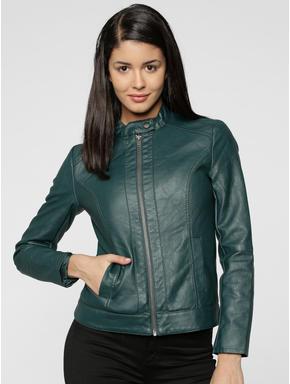 Green PU Biker Jacket