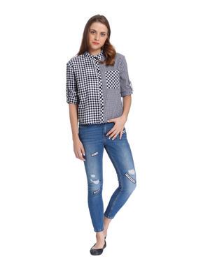 White & Black Check Shirt