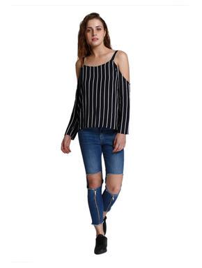 Black Striped Cold Shoulder Top