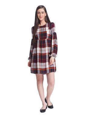 Brown Check Mini Dress