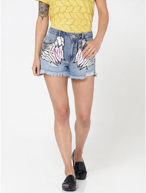 Blue Sequinned Mid Rise Slim Fit Denim Shorts