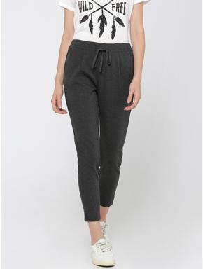 Dark Grey Drawstring Mid Rise Slim Fit Knit Pants
