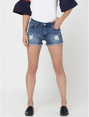 Blue Distressed Mid Rise Slim Fit Denim Shorts
