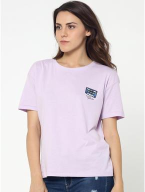 Light Purple Music Tape Print Box T-Shirt