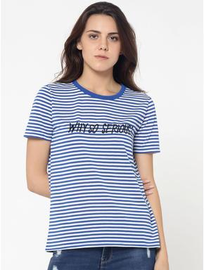 Blue and White Striped Slogan Print T-Shirt