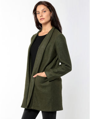Olive Green Front Open Long Cardigan