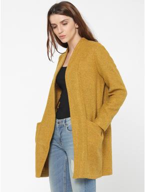 Mustard Long Front Open Cardigan