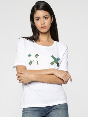 White Metallic Cross Print T-Shirt