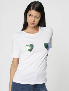 White Metallic Heart Print T-Shirt