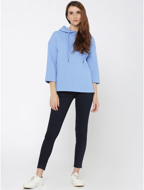 Blue Hooded Loose Fit Sweatshirt
