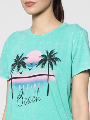 Green Palm Graphic Print T-Shirt
