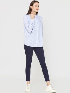 Blue Striped Fly Print Shirt