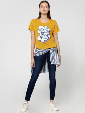 Yellow Glitter Text Print T-Shirt