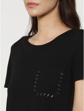 Black Stapled Pocket Detail T-Shirt