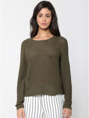 Olive Green Criss Cross Back Knit Pullover