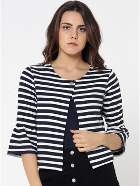 Dark Blue Striped Bell Sleeves Sweat Blazer