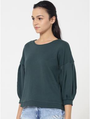 Green Balloon Sleeves Sweatshirt