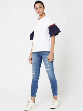 White Contrast Sleeves T-Shirt