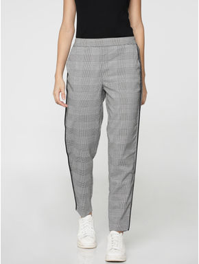 White Check Panel Mid Rise Loose Fit Pants