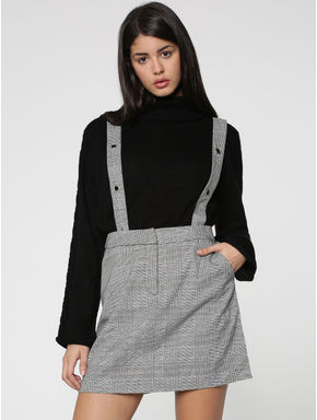 White Check Dungaree Mini Skirt