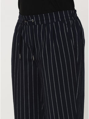 Dark Blue Mid Rise Striped Drawstring Pants