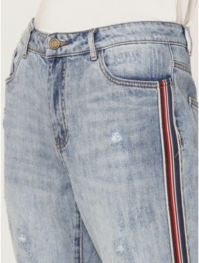 Light Blue Mid Rise Distressed Tape Detail Boyfriend Jeans
