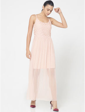 Peach Lace Detail Spaghetti Strap Maxi Dress