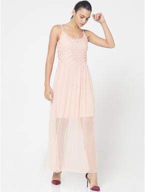 Peach Lace Detail Spaghetti Strap Maxi Dress
