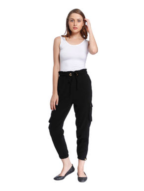 Black Drawstring Cropped Pants