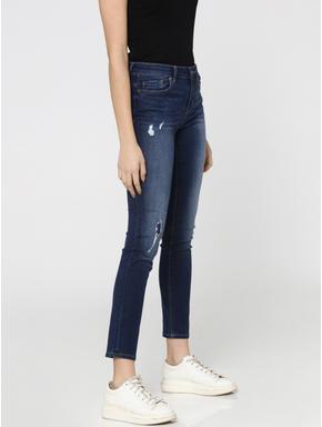 Dark Blue Mid Rise Distressed Skinny Fit Jeans