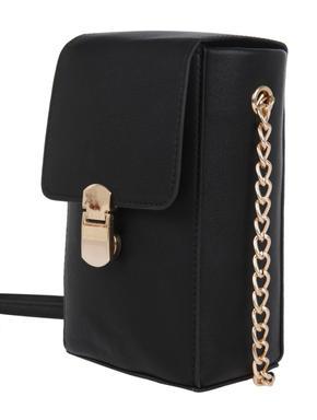 Black Metallic Chain Crossbody Bag