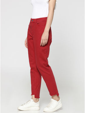 Red High Waist Regular Fit Ankle Length Jeans
